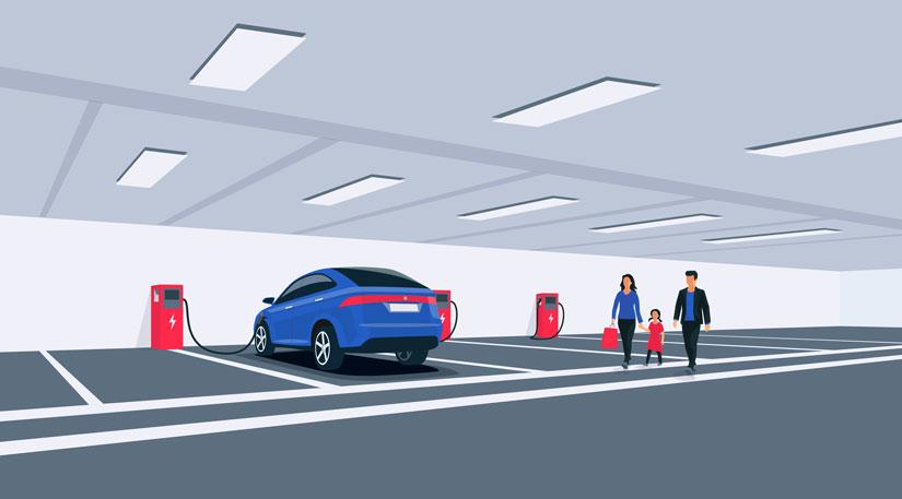 e-Auto in Parkhaus